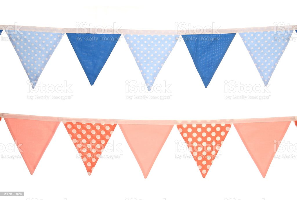 blue and pink bunting decoration stock photo