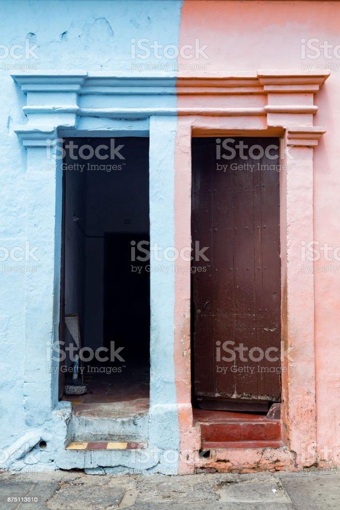 Blue and Pink Door stock photo