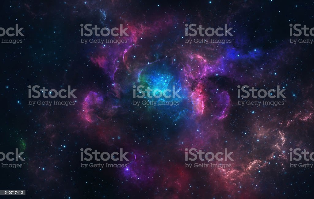 Blue and pink nebula stock photo