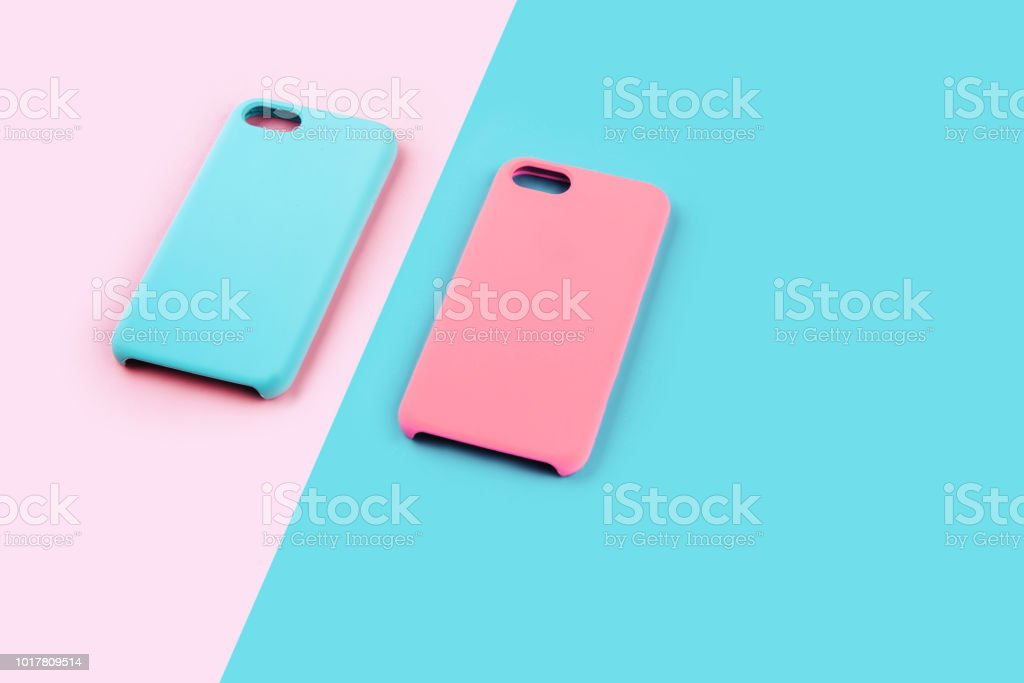 Blue and pink pastel color of phone case stock photo