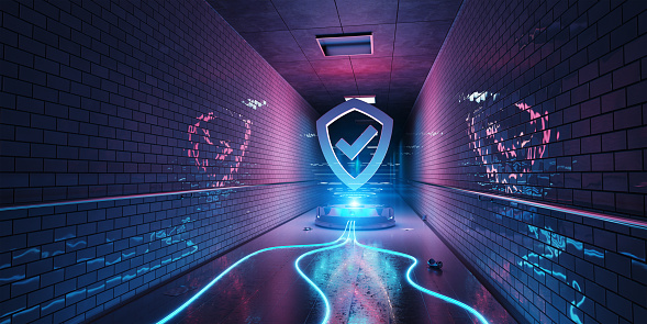Blue and pink underground cyber security hologram with digital shield 3D rendering