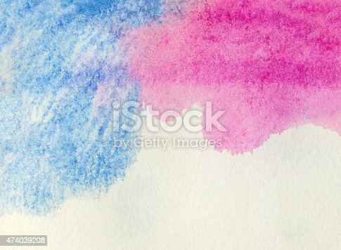 istock Blue and pink watercolor background 474039208