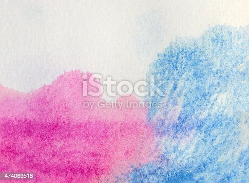 istock Blue and pink watercolor background 474069518