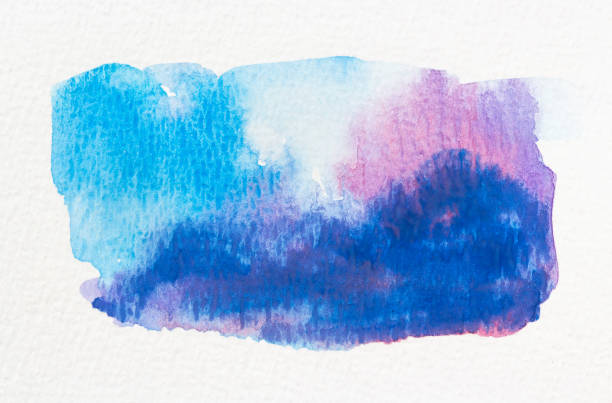 Blue and pink wet Watercolor stock photo