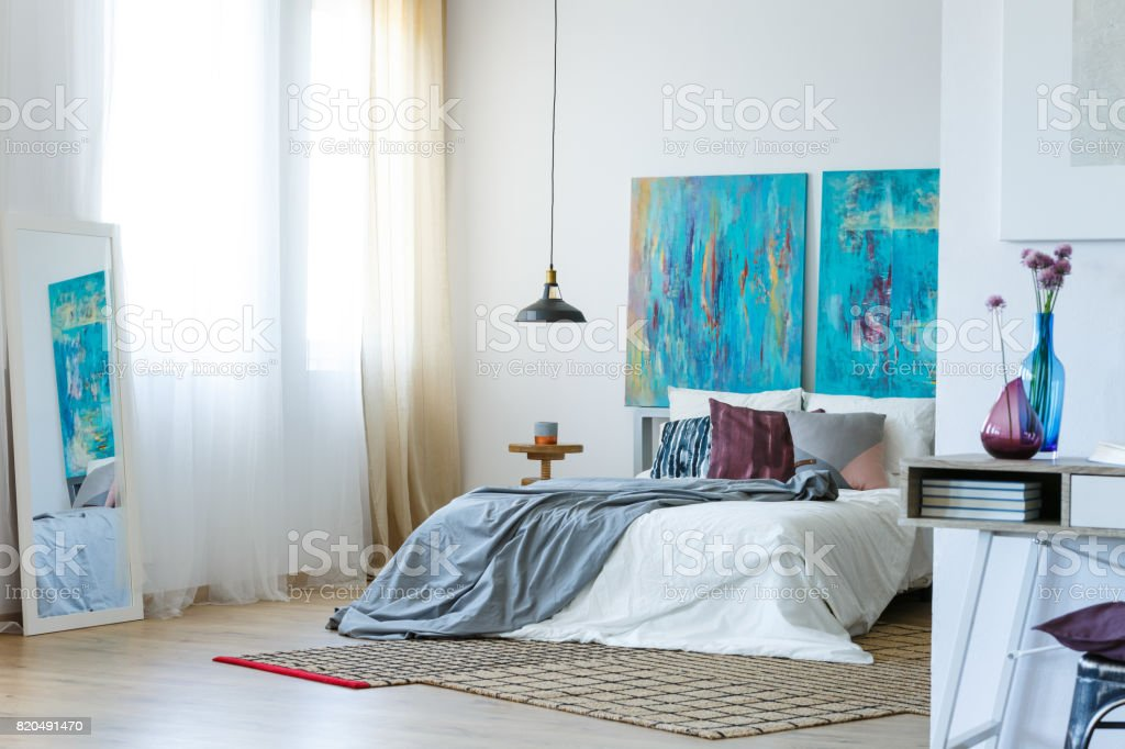 Blue and purple bedroom stock photo