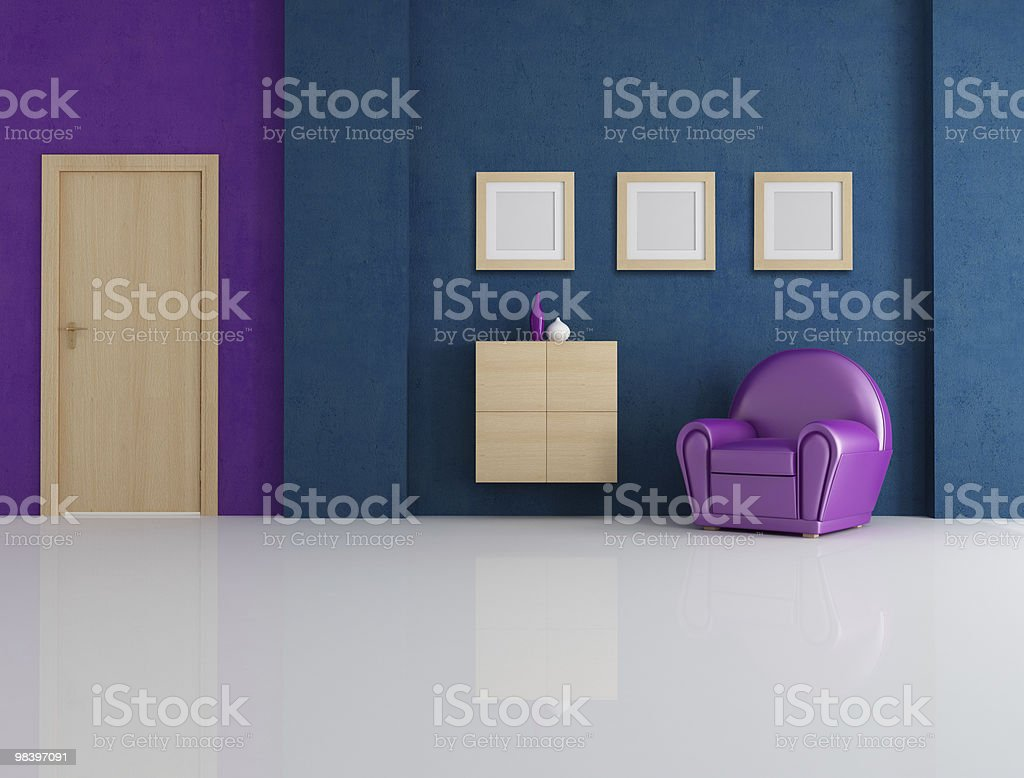 blue and purple living room royalty-free stock photo