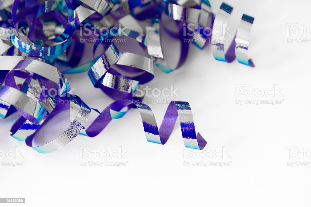 Blue and Purple Party Streamers stock photo