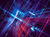 Abstract science fiction or future technology background - computer-generated 3d illustration. Fractal art: diagonal inclined hall or glass room with light effects.