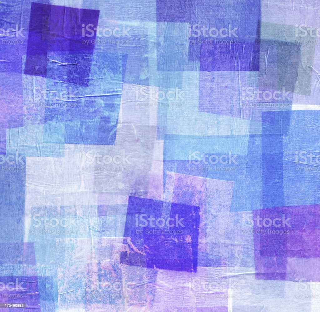 Blue and Purple Tissue Paper Collage royalty-free stock photo