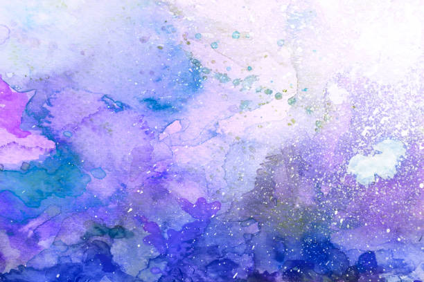 blue and purple watercolor background stock photo