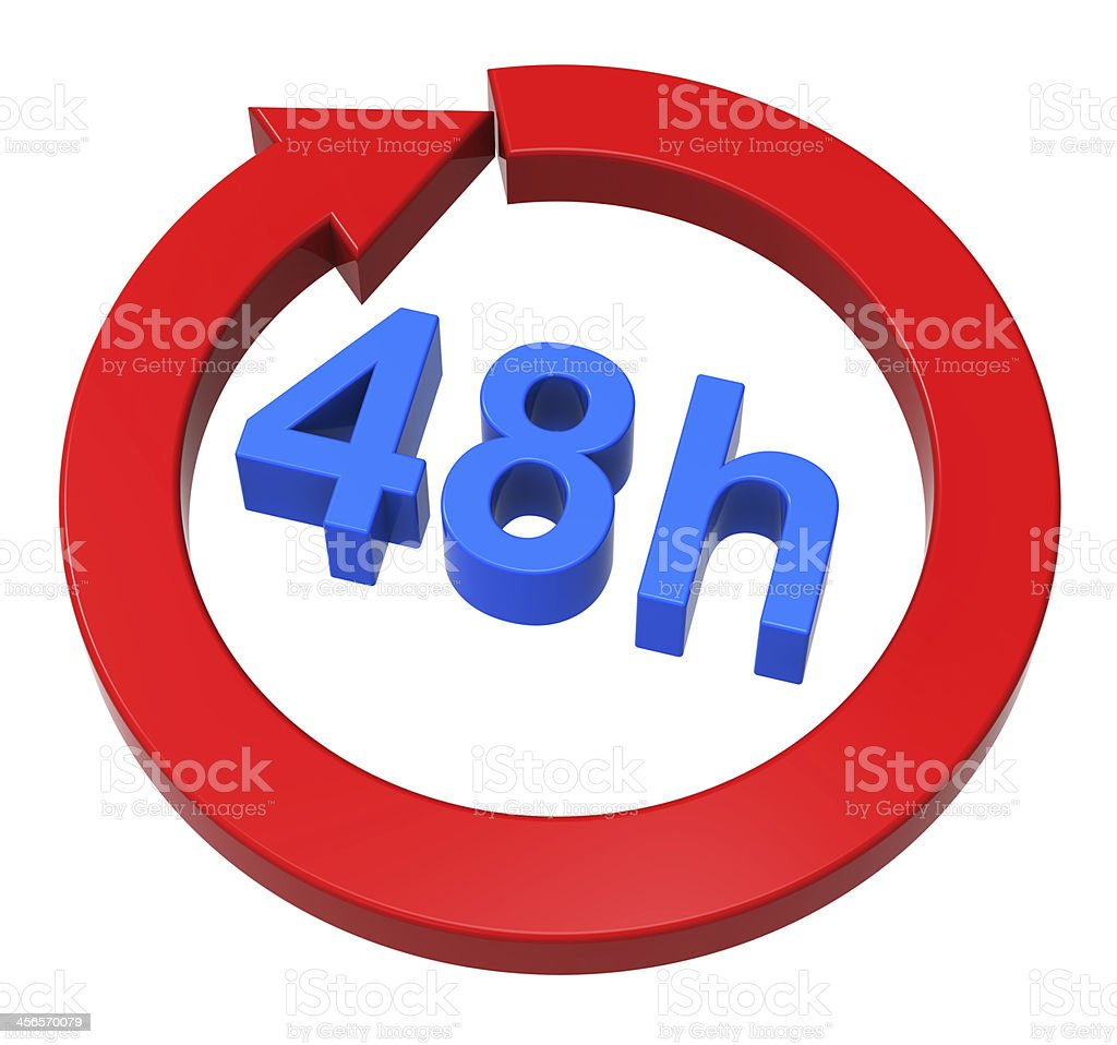 Blue and red 48 hour delivery sign on white background  stock photo