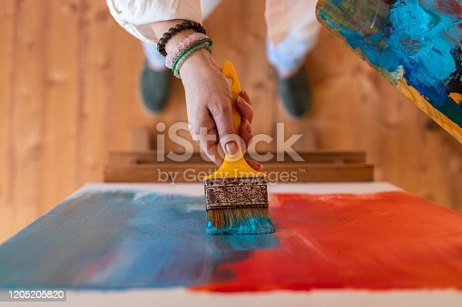 910798810 istock photo Blue and red abstract paintings 1205205820