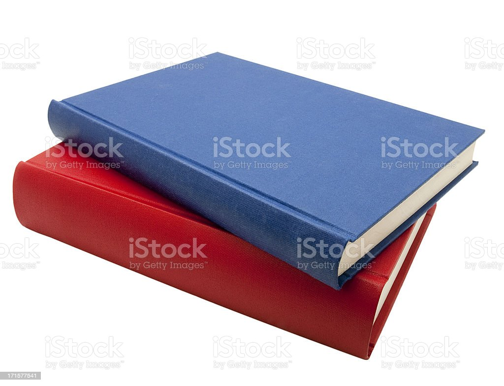Blue and red books isolated on white stock photo