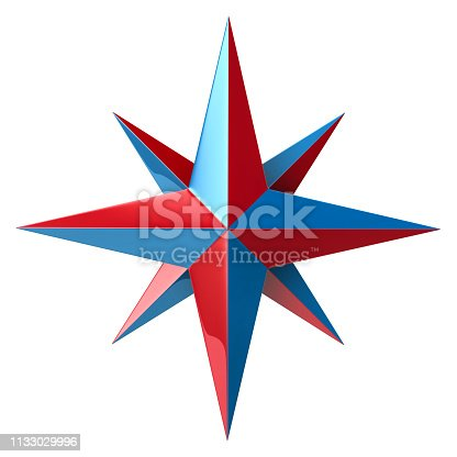 187602778 istock photo Blue and red compass rose 1133029996
