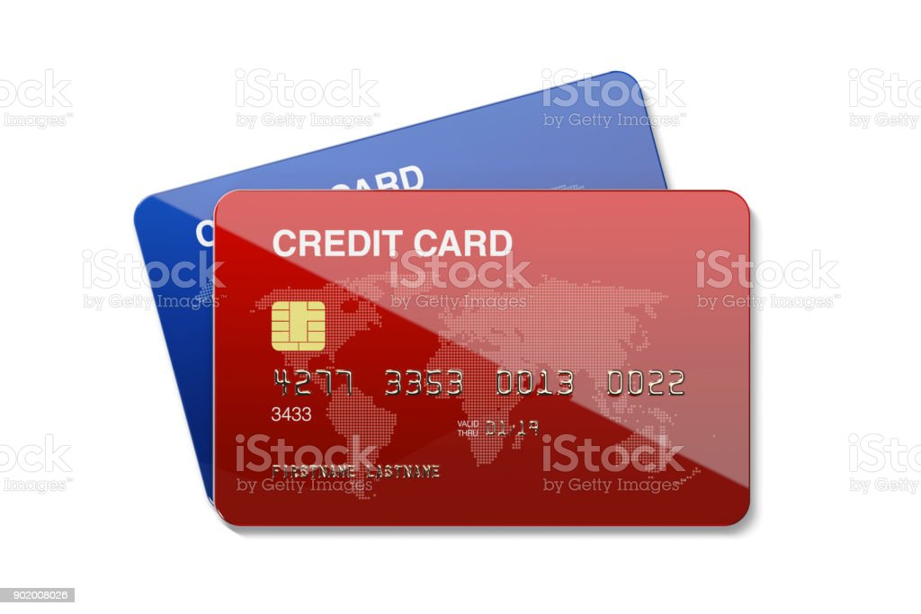 白地に青と赤のクレジット カード ストックフォト