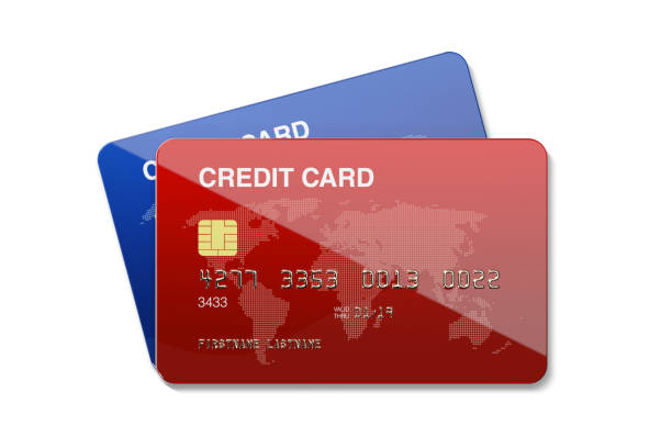 Blue And Red Credit Cards On White Background stock photo