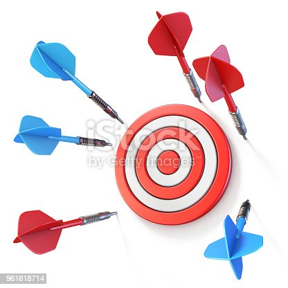 istock Blue and red dart miss target side view 3D 961618714