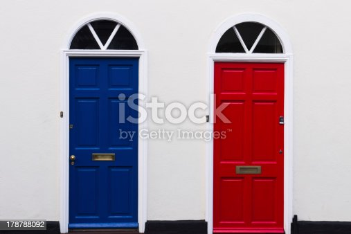 blue and red doors