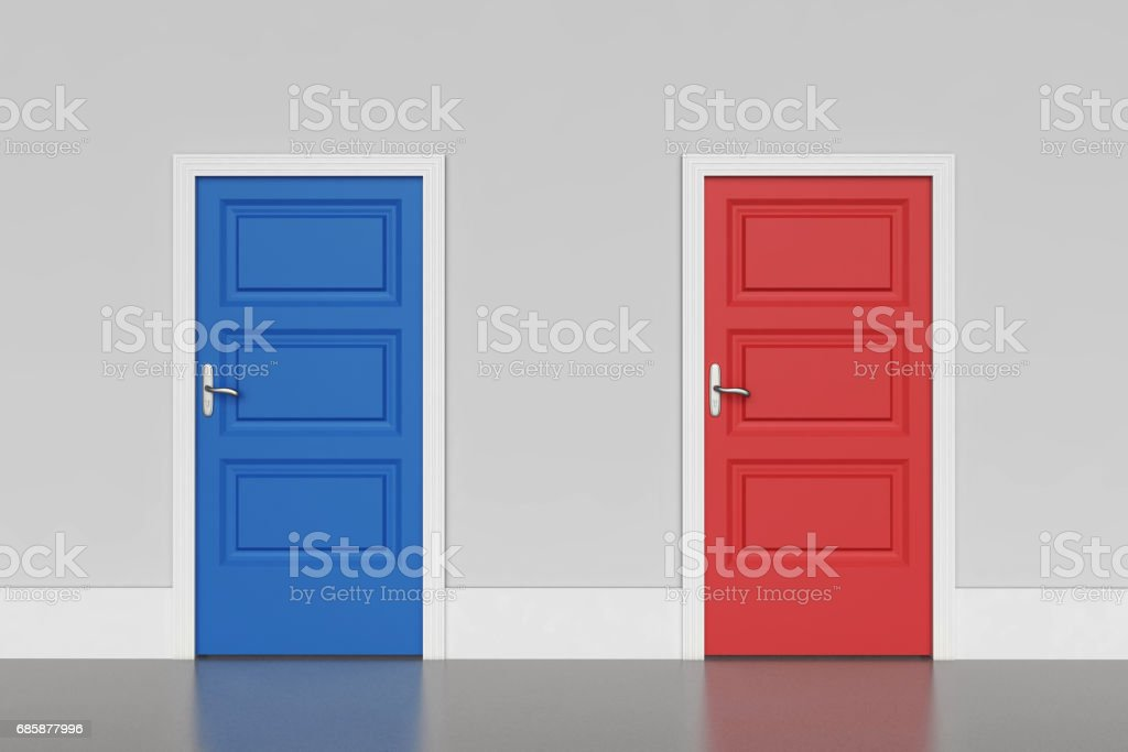 Blue and red doors stock photo