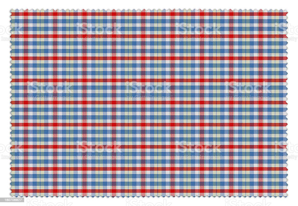 Blue and Red Gingham Tablecloth Swatch royalty-free stock photo