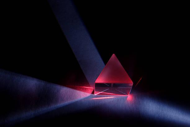 blue and red light through prism - lichtbreking stockfoto's en -beelden