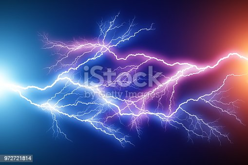 istock Blue and red lightning arc electric discharge 972721814