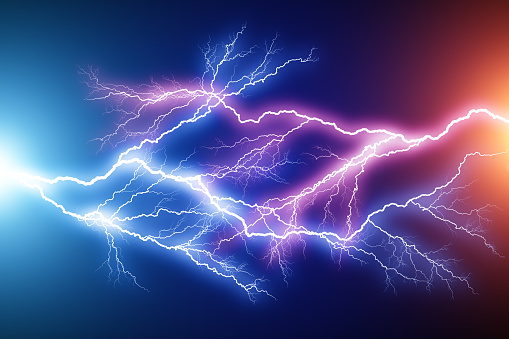 Creative anstract 3D render illustration of the blue and red lightning arc hit strike electric discharge light effect on dark black background
