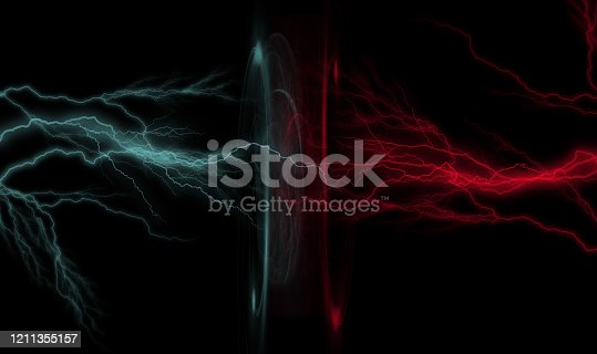 Blue and red lightning