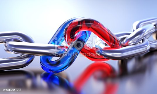 Blue and red links with silver chain. Teamwork concept