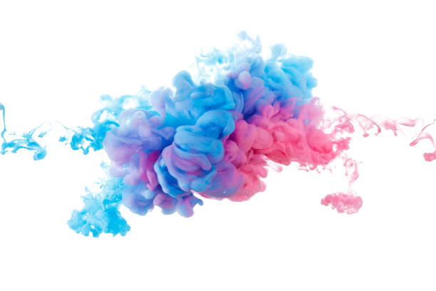 blue and red paint splash isolated on white background - ink stock pictures, royalty-free photos & images