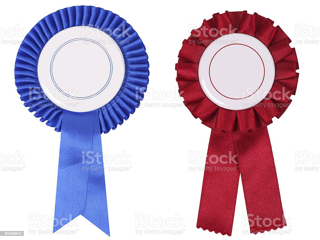 Blue and red rosettes, with copy space royalty-free stock photo