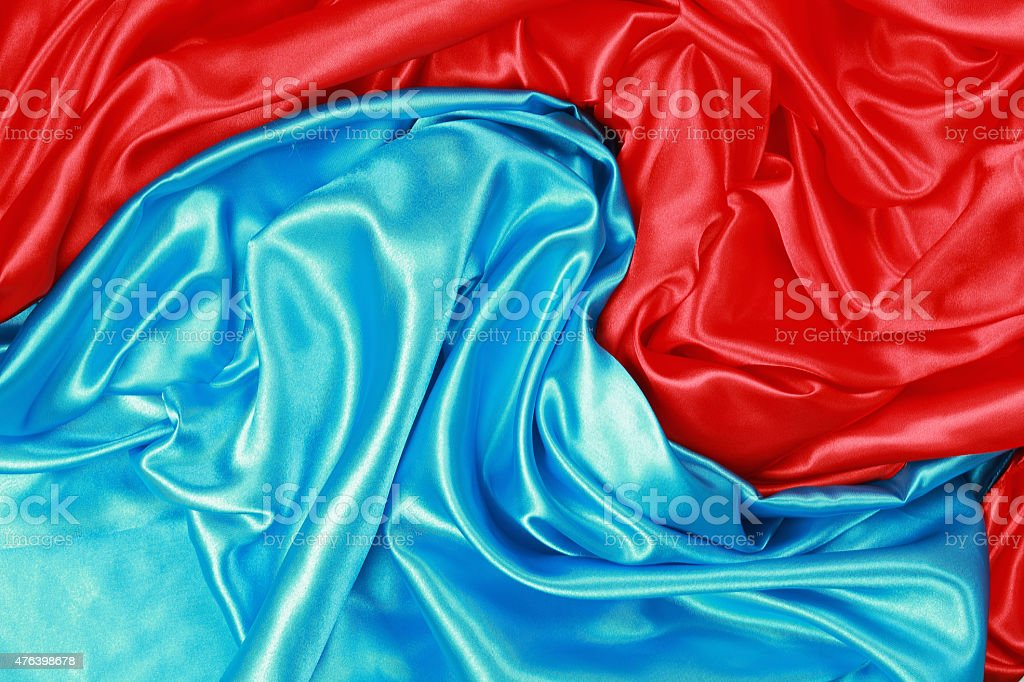 Blue and red Silk cloth of abstract background stock photo