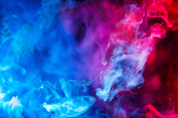 blue and red smoke background bright blue and red smoke background evaporation stock pictures, royalty-free photos & images