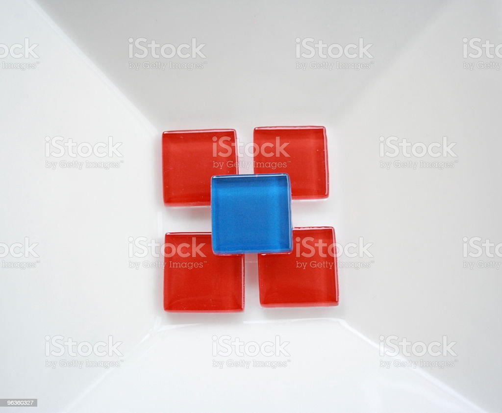 blue and red squares on white background dish royalty-free stock photo