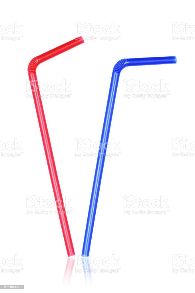 Blue and red straws isolated on white stock photo
