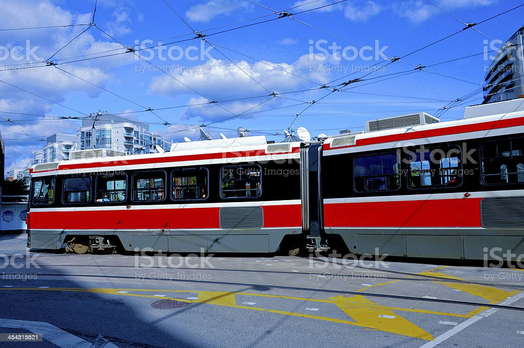 blue and red streetcar royalty-free stock photo