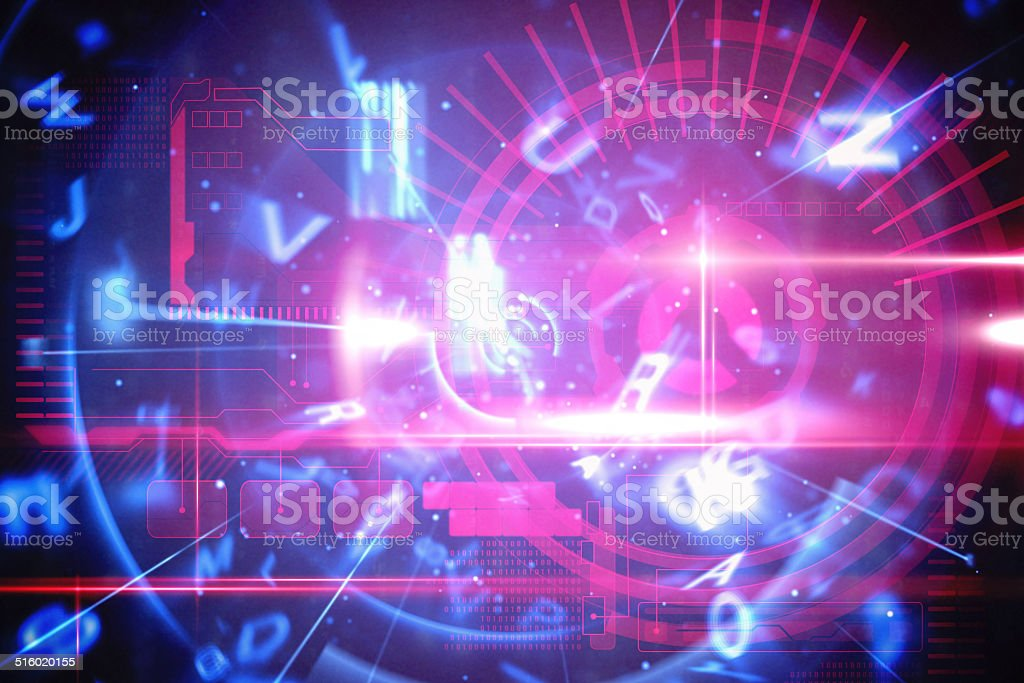 Blue and red technology interface stock photo