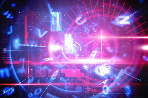 Tecnologia Interfaccia Blu E Rosso - Fotografie stock e altre immagini di Blu
