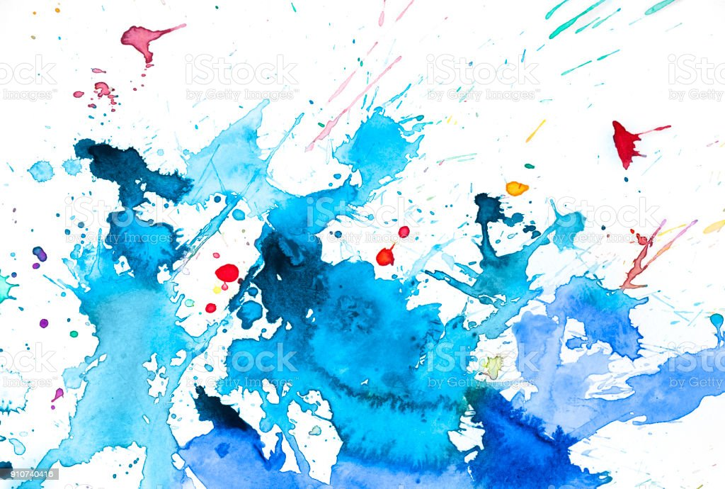 Blue and red watercolor splash stock photo