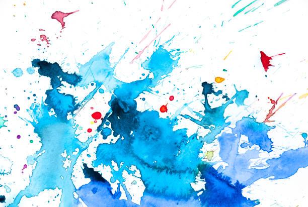 splash aquarelle bleue et rouge - aquarelle sur papier photos et images de collection