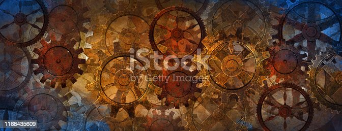 istock Blue and rusty steampunk banner with gears and wheels 1168435609