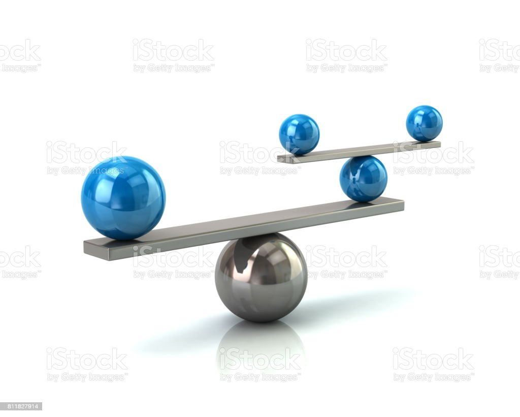 Blue and silver balance concept stock photo
