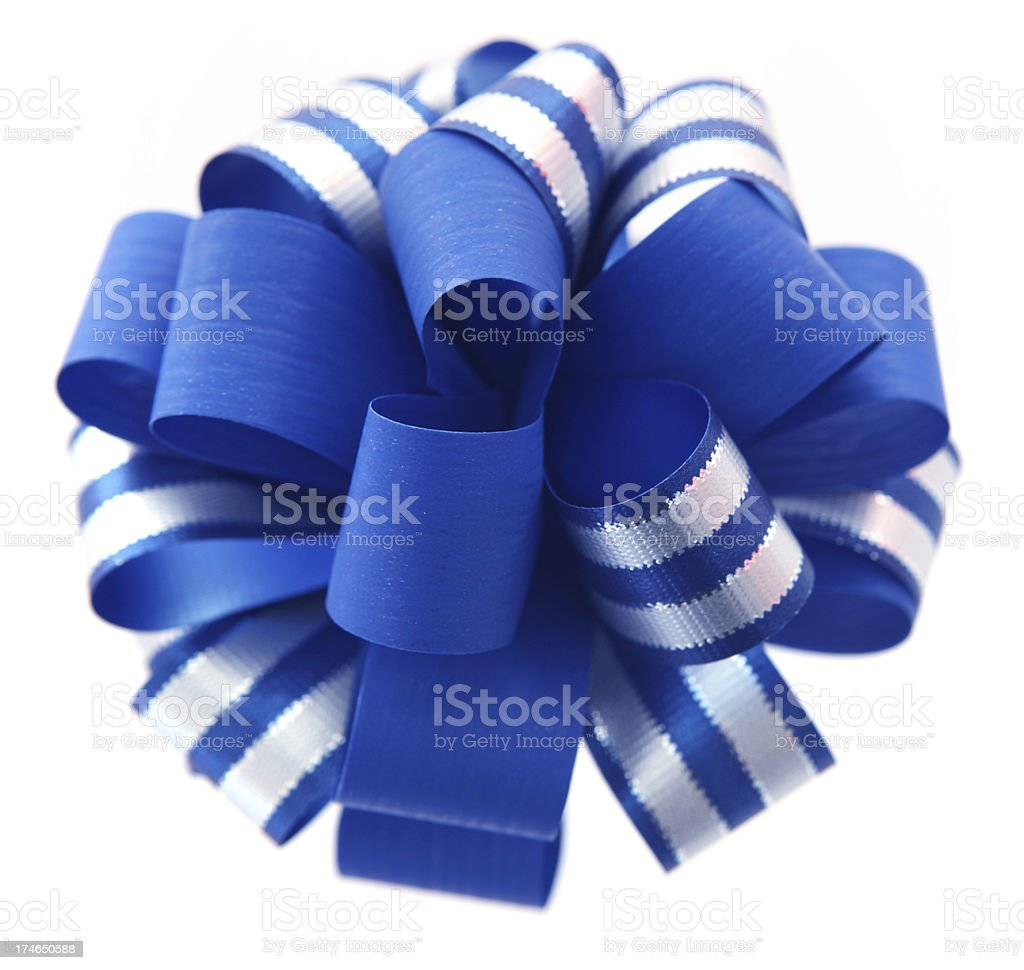 Blue and Silver Bow royalty-free stock photo