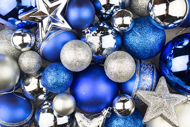 Blue and silver Christmas balls for a christmas stock photo