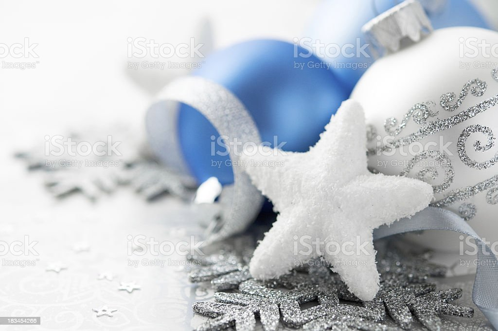 Blue and silver christmas decoration royalty-free stock photo
