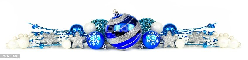 blue and silver christmas ornament border over white stock photo more pictures of 2015 istock - Blue And Silver Christmas Ornaments