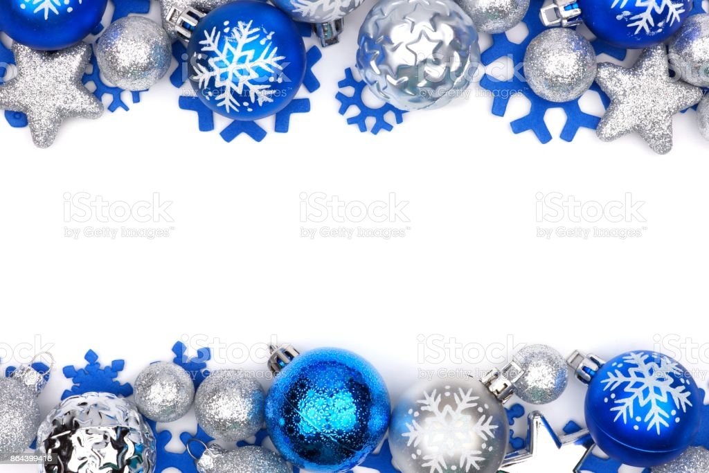 Blue and silver Christmas ornament double border over white stock photo