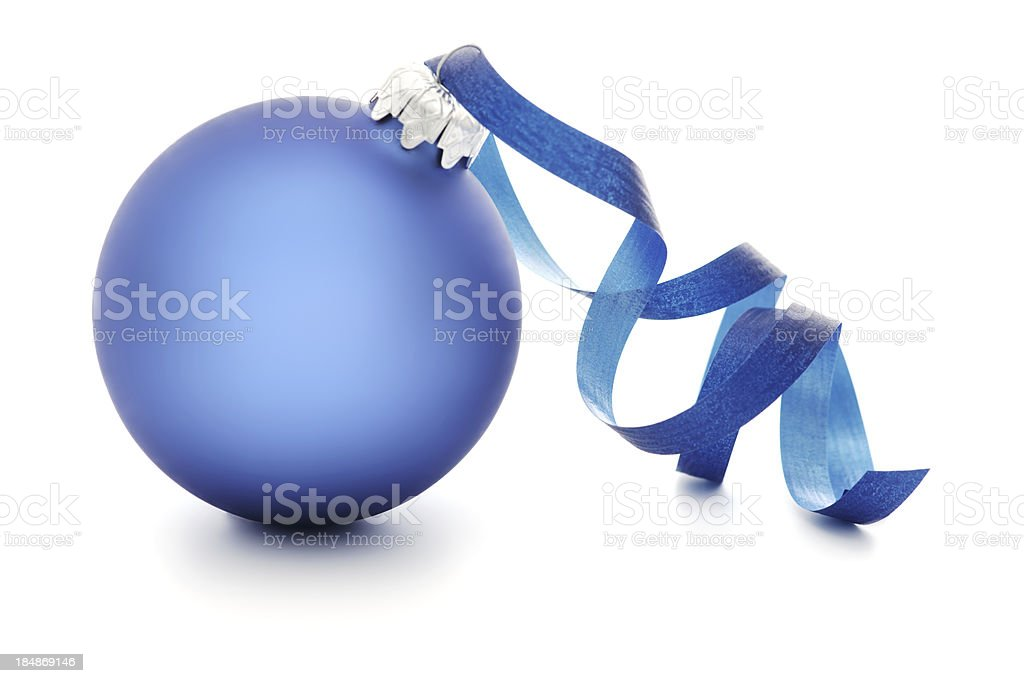 Blue and silver Christmas ornament with ribbon royalty-free stock photo