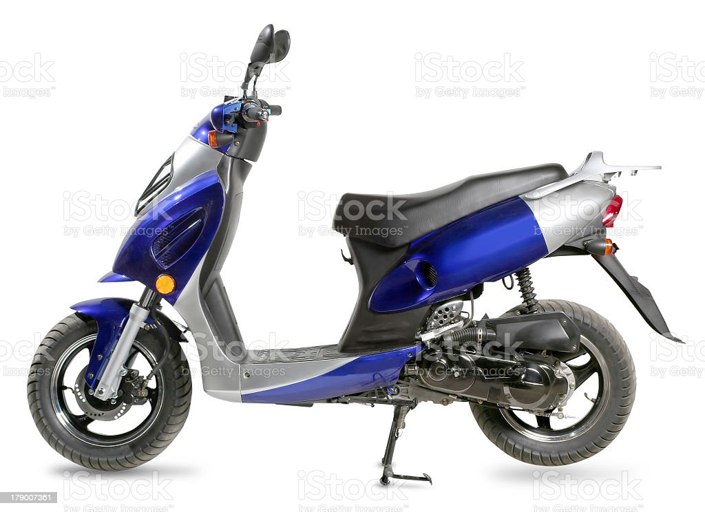 Blue and silver moped on a white background stock photo