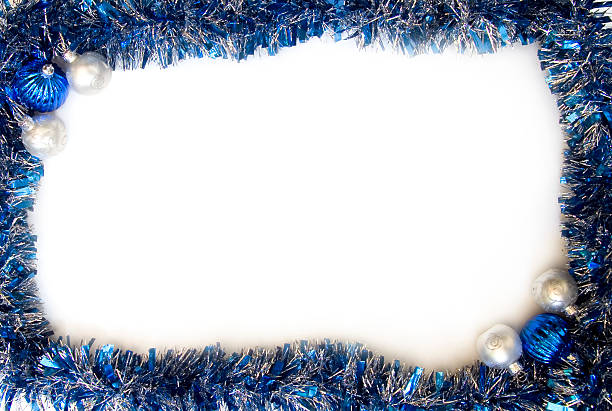 Blue and silver tinsel frame/border with baubles